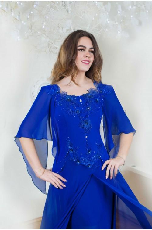 Rochie XXL Marimi Mari de Seara Albastra cu Dantela si Maneci / Rochii Romanesti