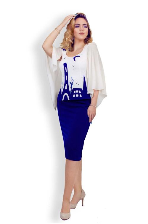 Rochie Midi de Ocazie / Costum Dama Elegant pentru Marimi Mari XXL