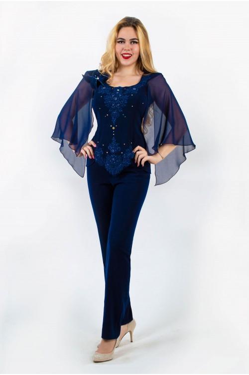 Compleu Elegant Bleumarin cu Pantalon. Costum de Ocazie cu pantaloni