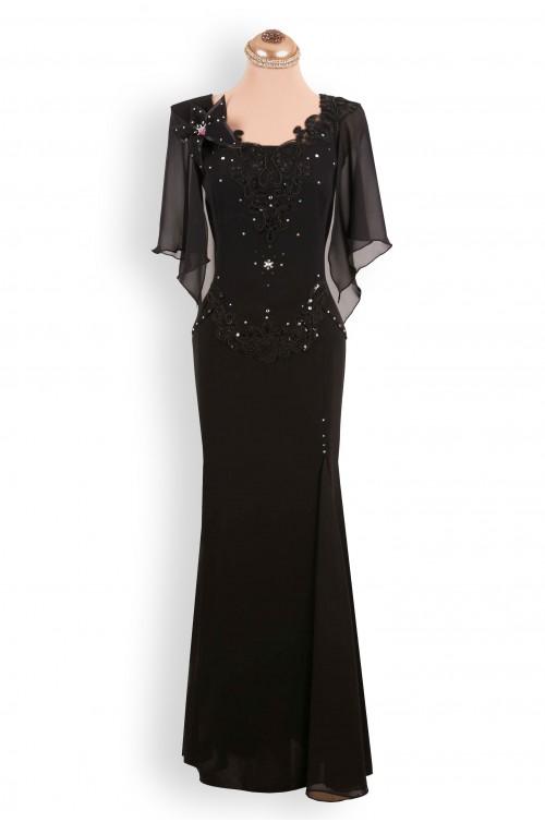 Rochie de ocazie neagra lunga cu dantela si strasuri de soacra sau nasa mare