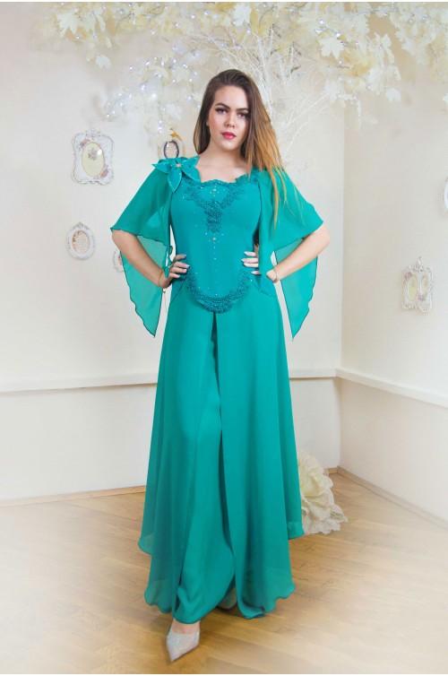 Rochie de Seara Turcoaz Eleganta Lunga de Soacra Nasa Marimi Mari XXL 2020