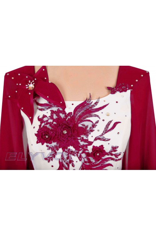 RED-GRAPE EVENING SUIT FOR PLUS SIZE HANDMADE PAINTED-3CLZ