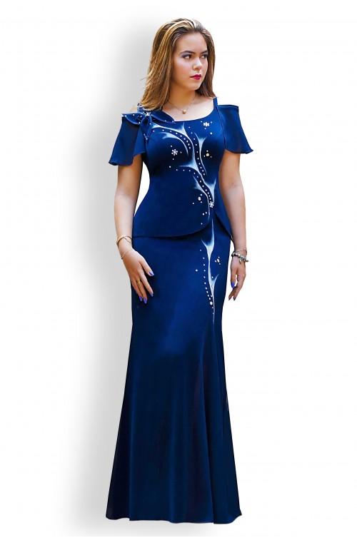 Rochie de Lux Lunga Pictata Bleumarin Sirena