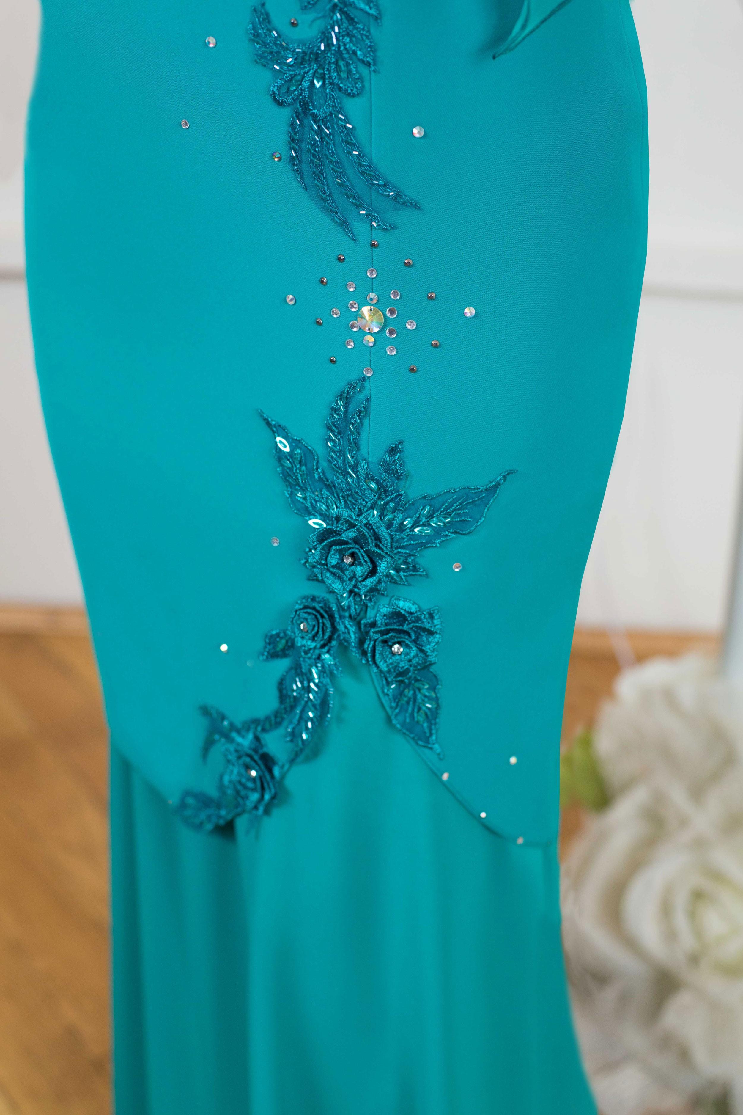 Black long elegant evening dress plus size xxl with handmade flowers