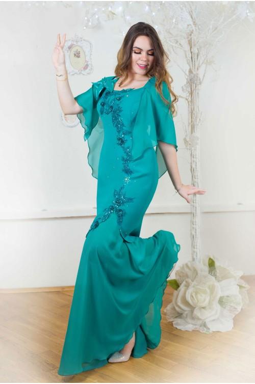 Rochie de Seara Lunga Albastra Marimi Mari XXL pentru Nunta si Ocazii