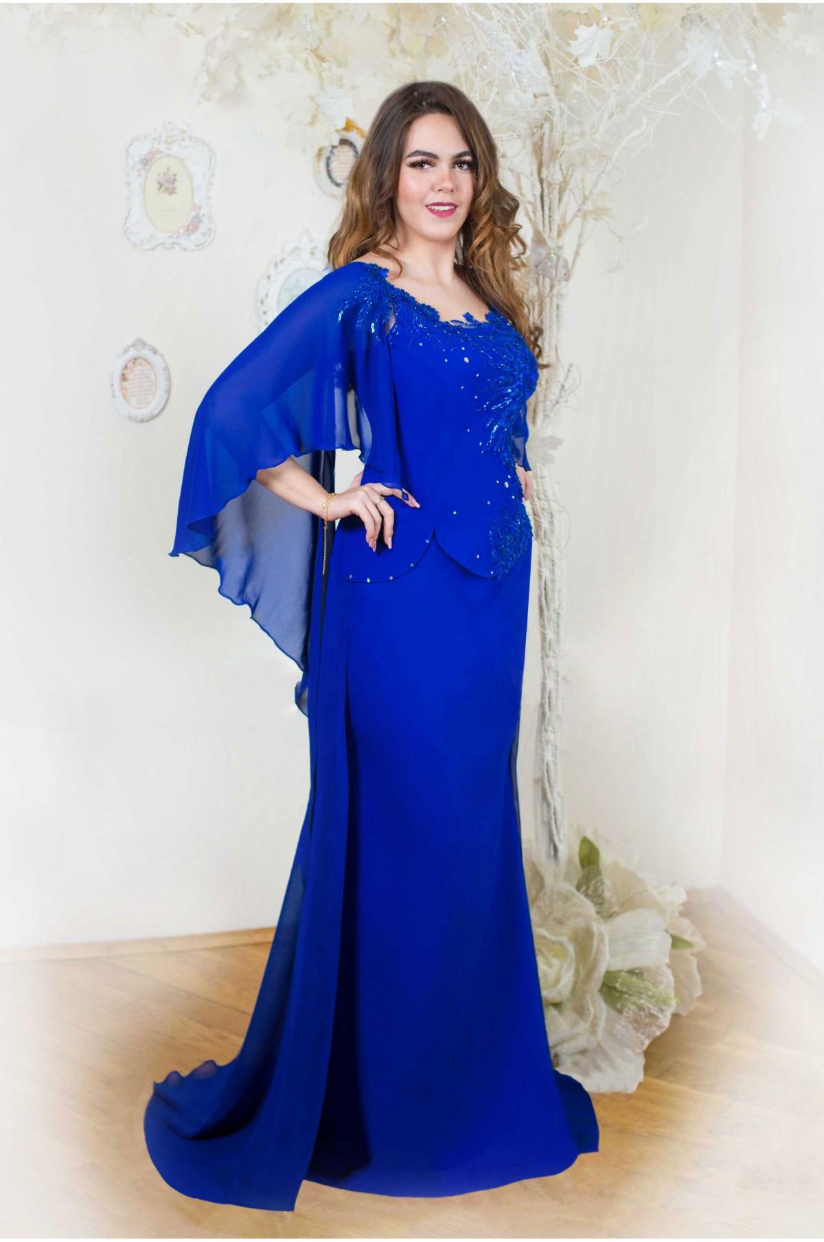 potrivire grozavă preț mai mic cu de unde să cumperi Rochii de seara lungi albastre elegante cu trena si maneci marimi mari