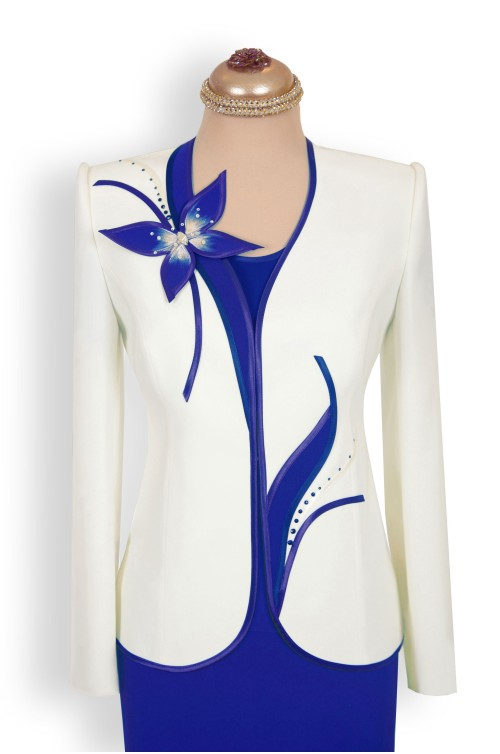 Costum Dama Elegant Marimi Mari XXL de Ocazie Albastru cu Alb