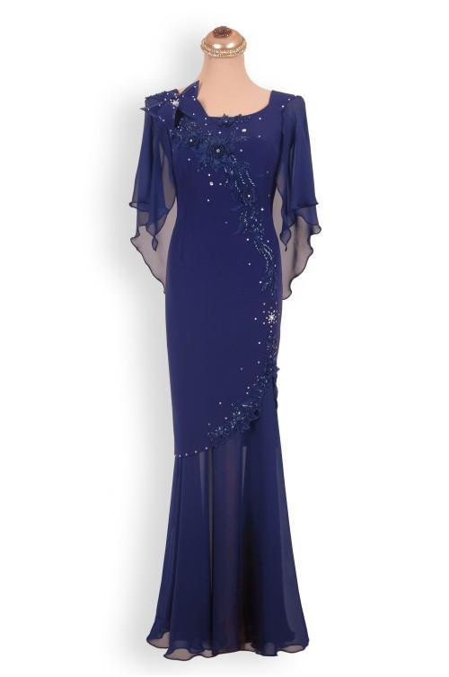 Rochie de Seara Bleu Lunga Eleganta de Nunta Soacra Nasa