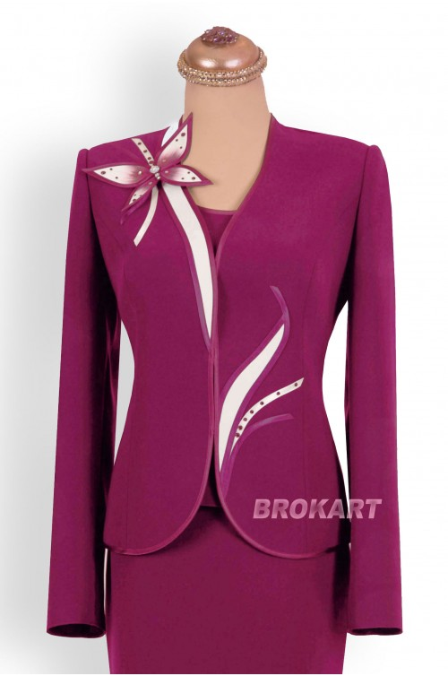 PURPLE-PLUM FORMAL SUIT, PLUS SIZE, 3 PIECES-3FP