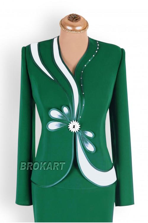 Costum Dama de Ocazie Verde in 3 Piese pentru Marimi Mari XXL